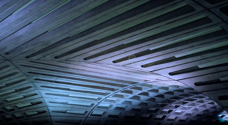 DC Metro. Ceiling architecture of the central Washington DC underground metro rail station royalty free stock photo