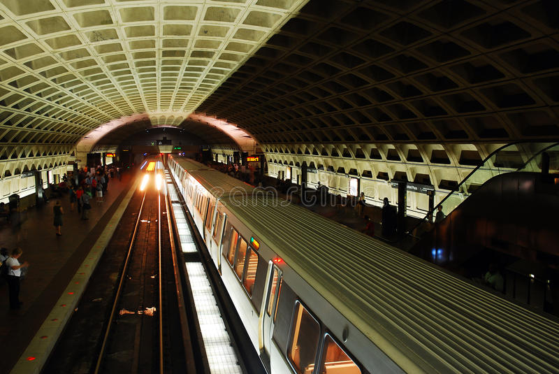 DC Metro. A metro train pulls intoa station along Washington DC`s subway line royalty free stock photography