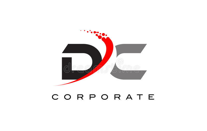 DC Modern Letter Logo Design with Swoosh vector illustration