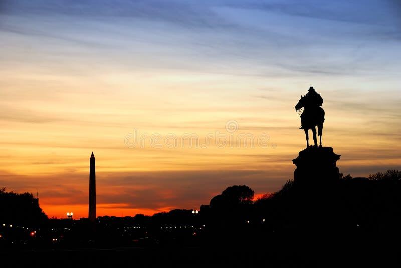 dc-silhouette washington arkivfoto
