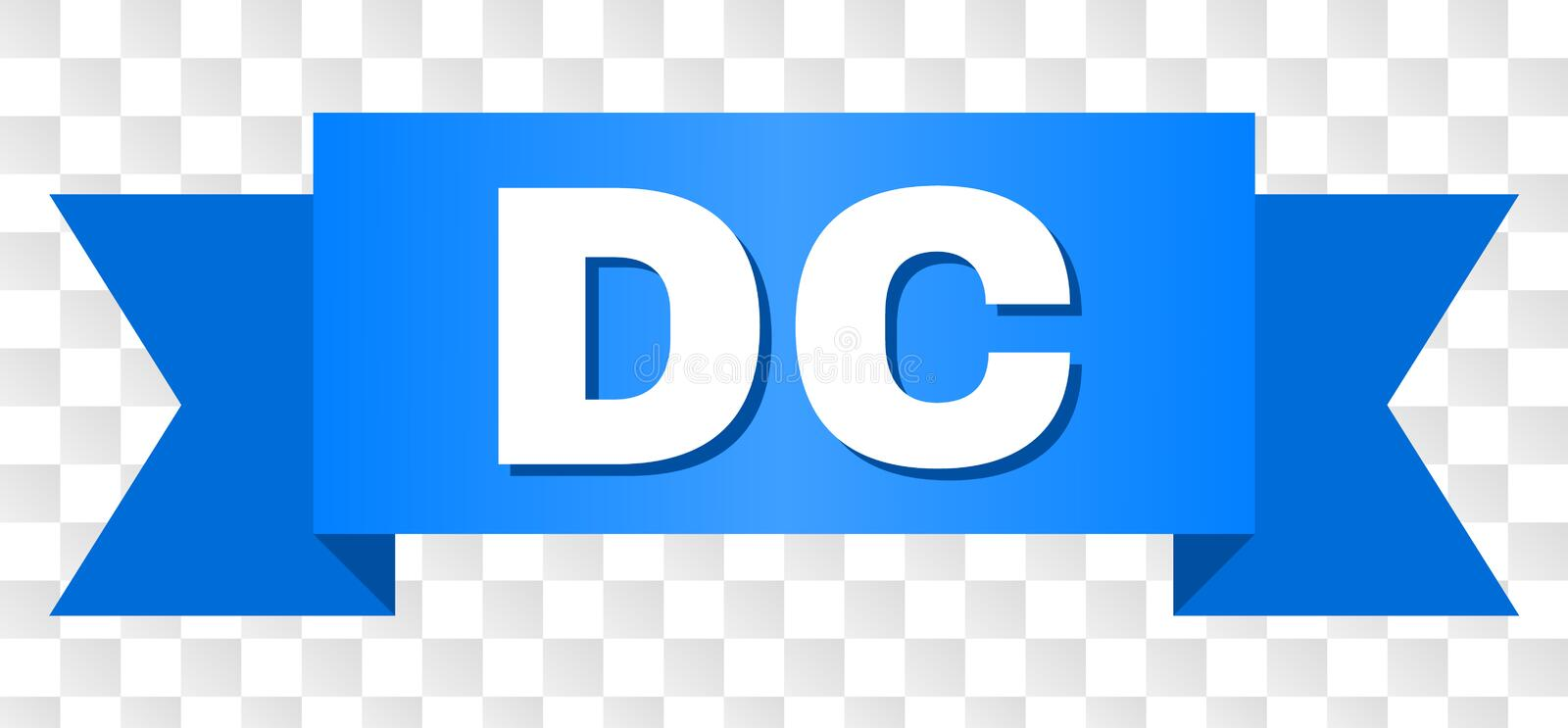Blue Tape with DC Text. DC text on a ribbon. Designed with white caption and blue tape. Vector banner with DC tag on a transparent background vector illustration