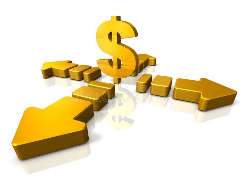 3DCG abstrato está indicando que a economia está no fluxo ilustração do vetor