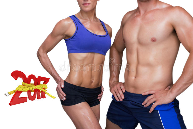 3DComposite image of bodybuilding couple stock photos