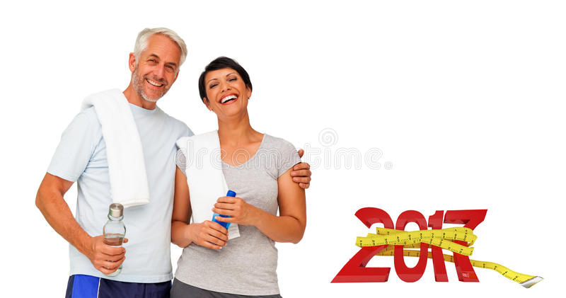 3DComposite image of portrait of a happy fit couple stock image