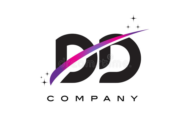 DD D D Black Letter Logo Design with Purple Magenta Swoosh. And Stars vector illustration