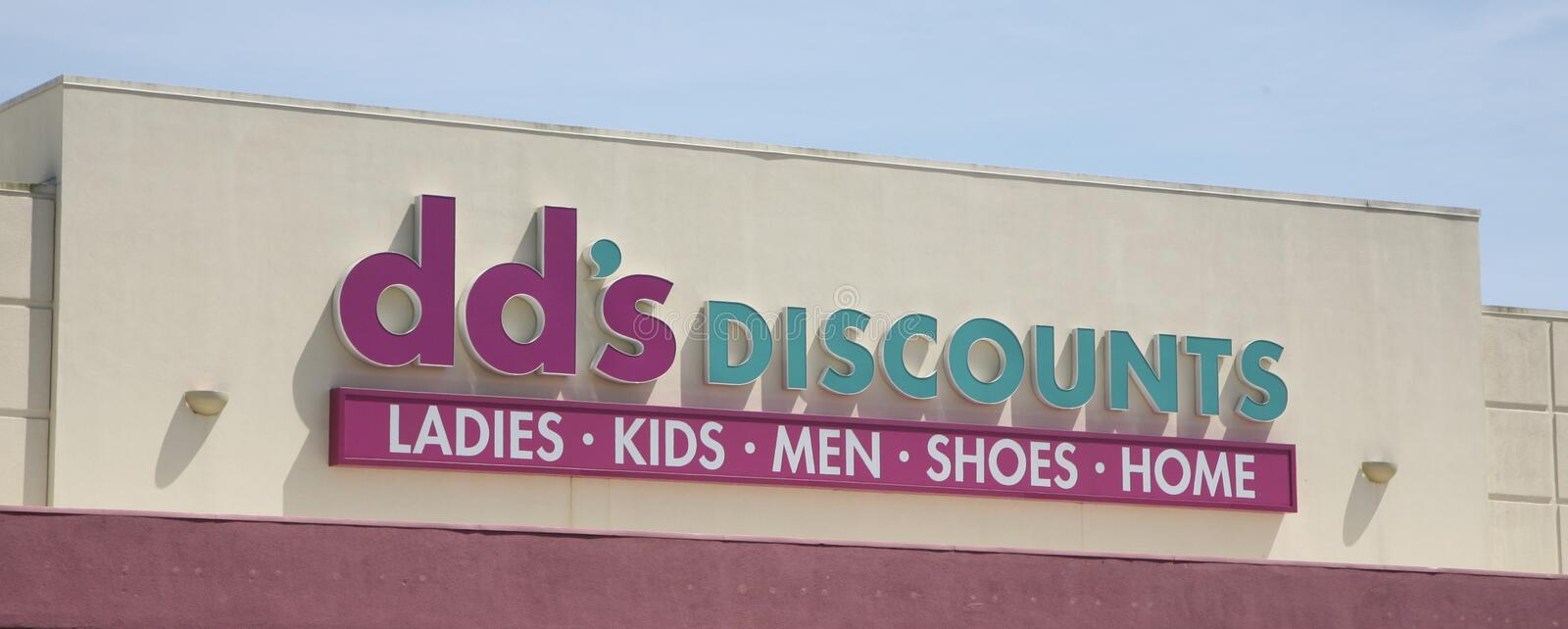Dd`s Discount Department Store. Dd`s discounts department stores are stocked with home apparel, shoes & accessories for women, children and men royalty free stock images