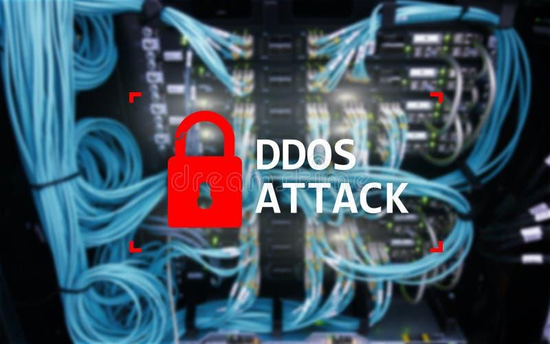 DDOS-aanval, cyber bescherming het virus ontdekt Internet en technologieconcept royalty-vrije stock afbeelding