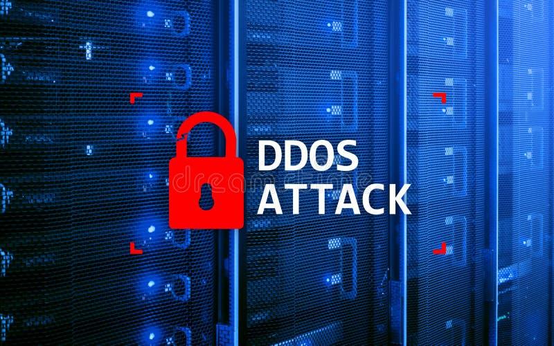 DDOS-aanval, cyber bescherming het virus ontdekt Internet en technologieconcept stock foto's