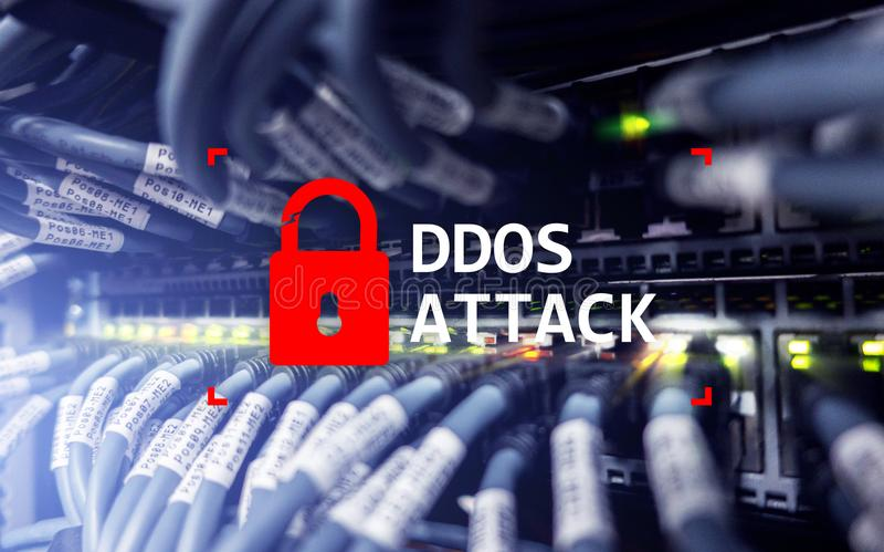 DDOS-Angriff, Cyberschutz Virus ermitteln Internet und Technologiekonzept stockbild