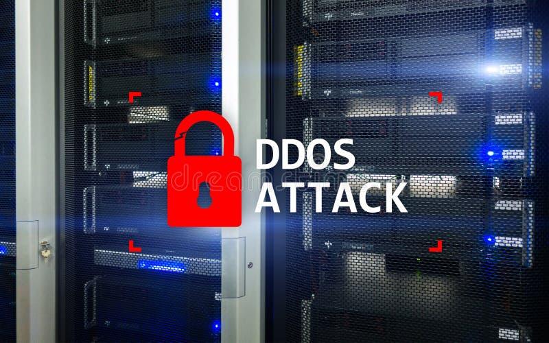 DDOS-Angriff, Cyberschutz Virus ermitteln Internet und Technologiekonzept lizenzfreie stockbilder