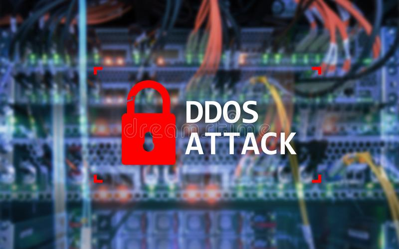 DDOS-Angriff, Cyberschutz Virus ermitteln Internet und Technologiekonzept lizenzfreies stockfoto