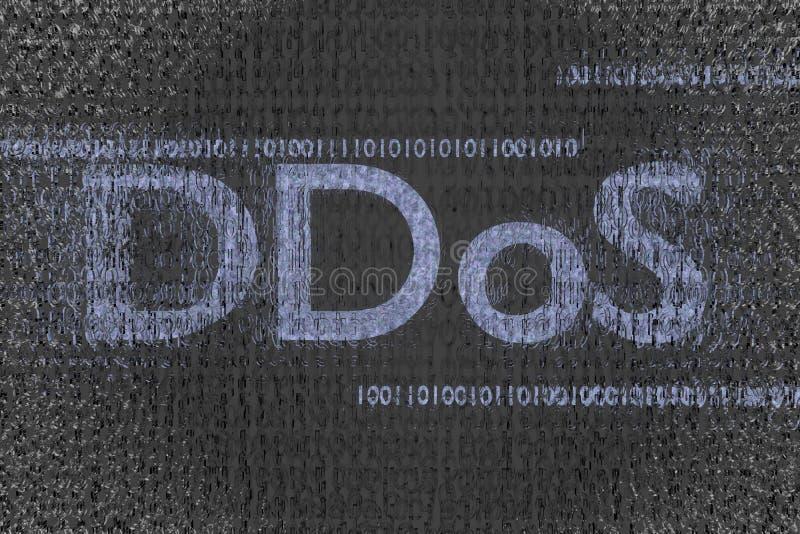 Ddos attack i binärt moln med den infekterade koden 3d framför arkivfoto