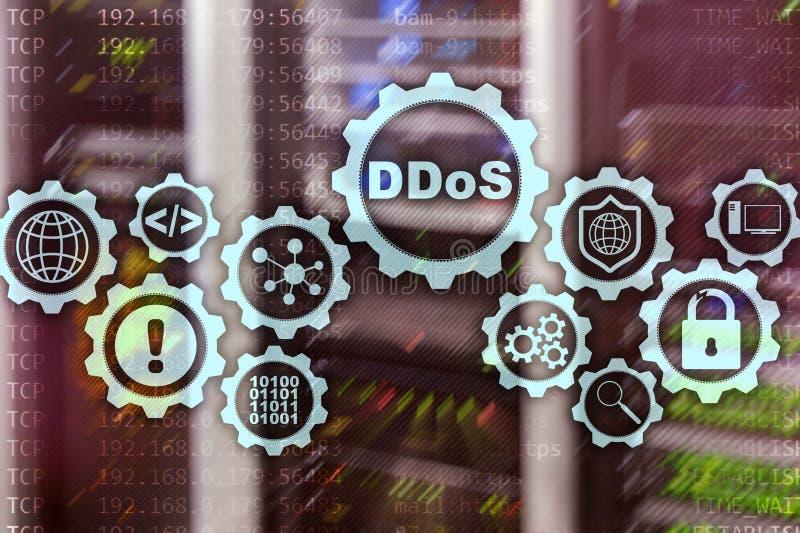 DDoS Cyberattack Teknologi-, internet- och skyddsn?tverksbegrepp Serverdatacenterbakgrund vektor illustrationer
