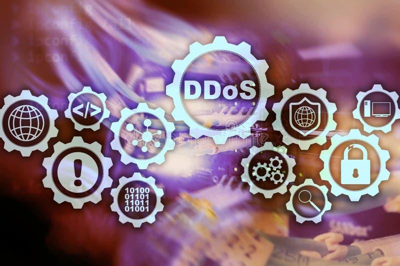 DDoS Cyberattack Teknologi-, internet- och skyddsn?tverksbegrepp Serverdatacenterbakgrund stock illustrationer