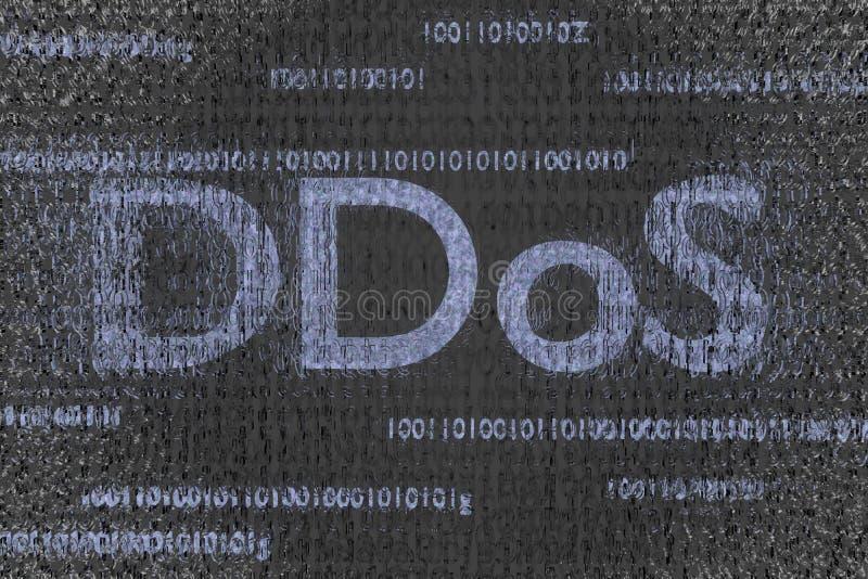 Ddos framför pågående attack smittad kodbakgrund 3d royaltyfri foto