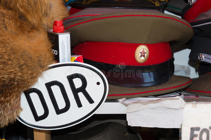 DDR cap and sign stock photo