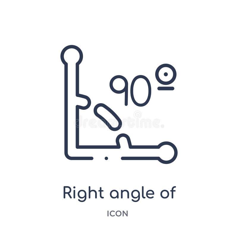 de ángulo recto de 90 grados de icono de la colección del esquema de las formas Línea fina de ángulo recto de 90 grados de icono  stock de ilustración