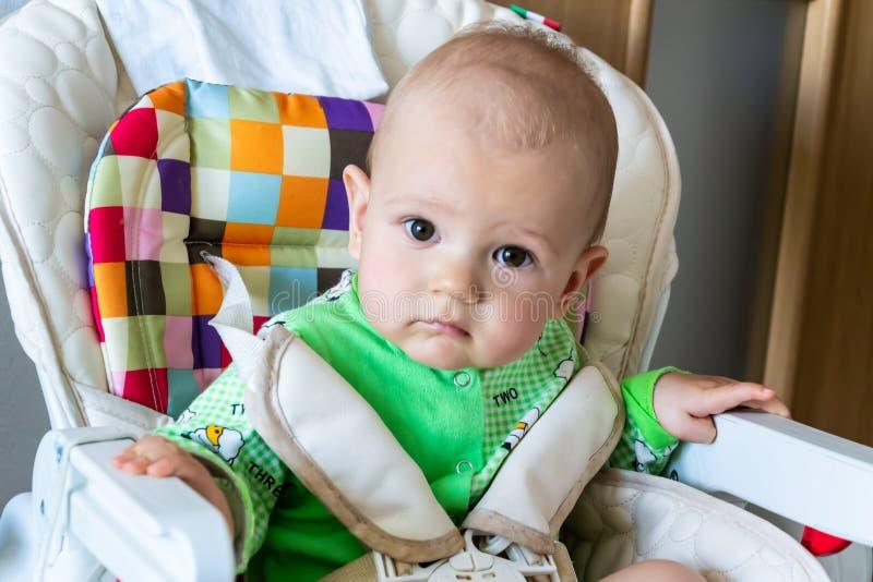 De één éénjarigebaby zit ergens en kijkt aandachtig Weinig vrolijke jongen in een lichtgroen kostuum met schapen stock afbeeldingen