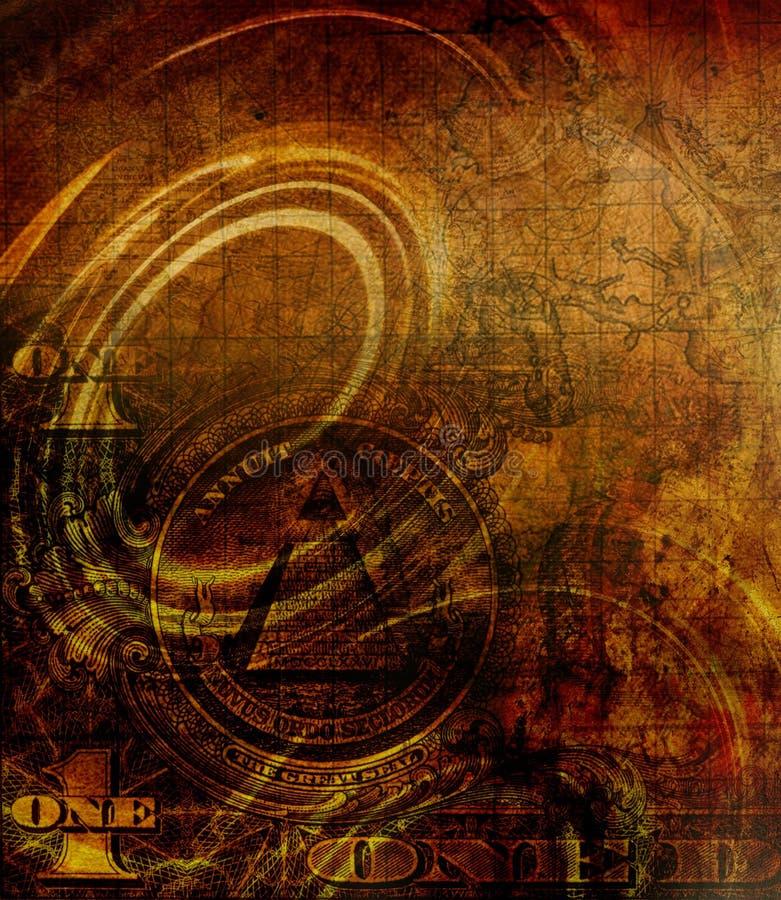 De één dollarcollage op abstracte kleurenachtergronden, het schilderen collage met vlekken, roest structuur stock illustratie