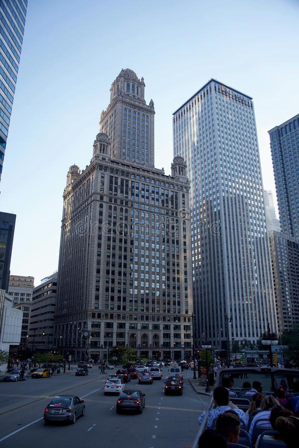 De één de Wolkenkrabberbouw van het Noordenlasalle, Chicago Illinois stock foto's