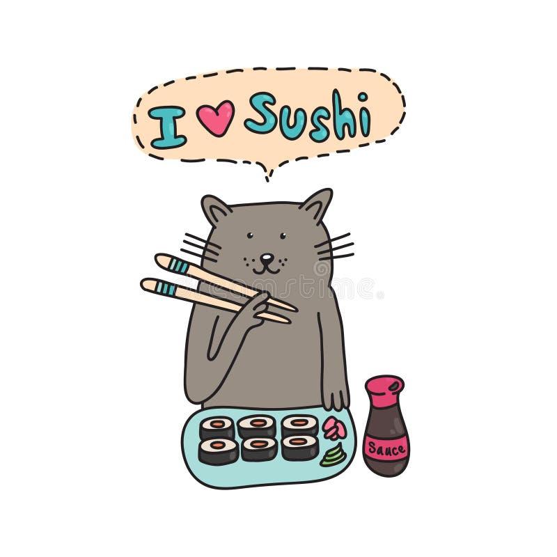 ¡ De Ð em comer o sushi com hashis ilustração stock