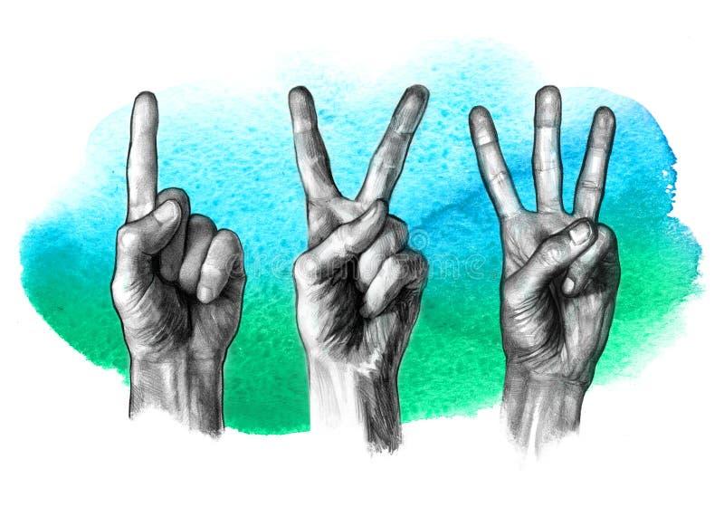 ¡ De Ð que ounting nos dedos ilustração stock