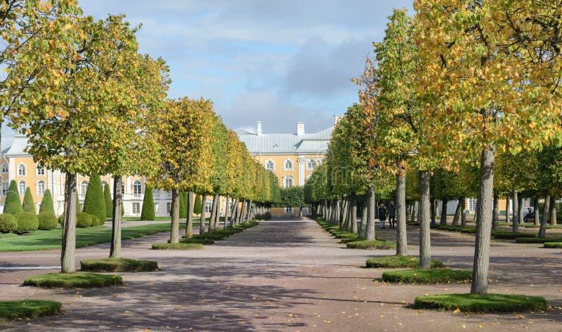 De övre parkerar skapades under tsar Peter I Det lokaliseras i Peterhof mellan den St Petersburg avenyn och den storslagna Peterh royaltyfria foton