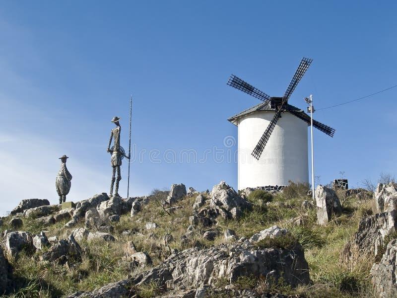 de надевает памятник quixote mancha la к стоковое изображение