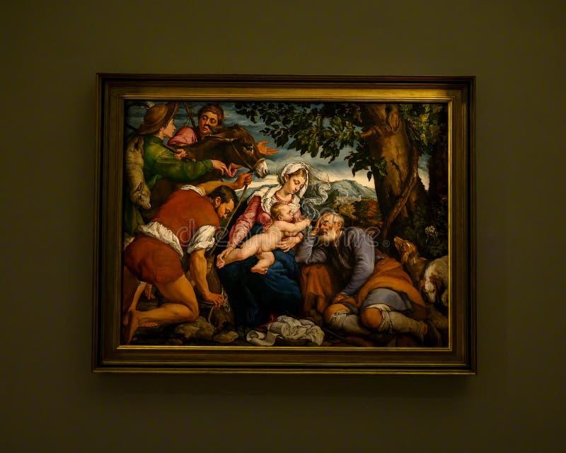 De 'Rest op de Vlucht in Egypte 'door Jacopo Bassano in Pinacota Ambrosiana, de Ambrosian-kunstgalerie in Milaan, Italië stock foto's