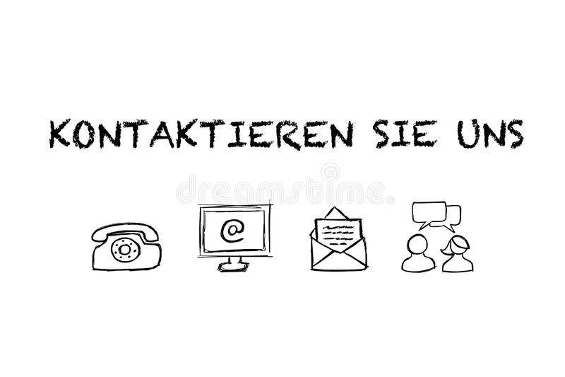 De de 'tekst en Pictogrammen van Kontaktieren Sie uns met witte achtergrond Vertaling: ?Contacteer ons ? stock illustratie