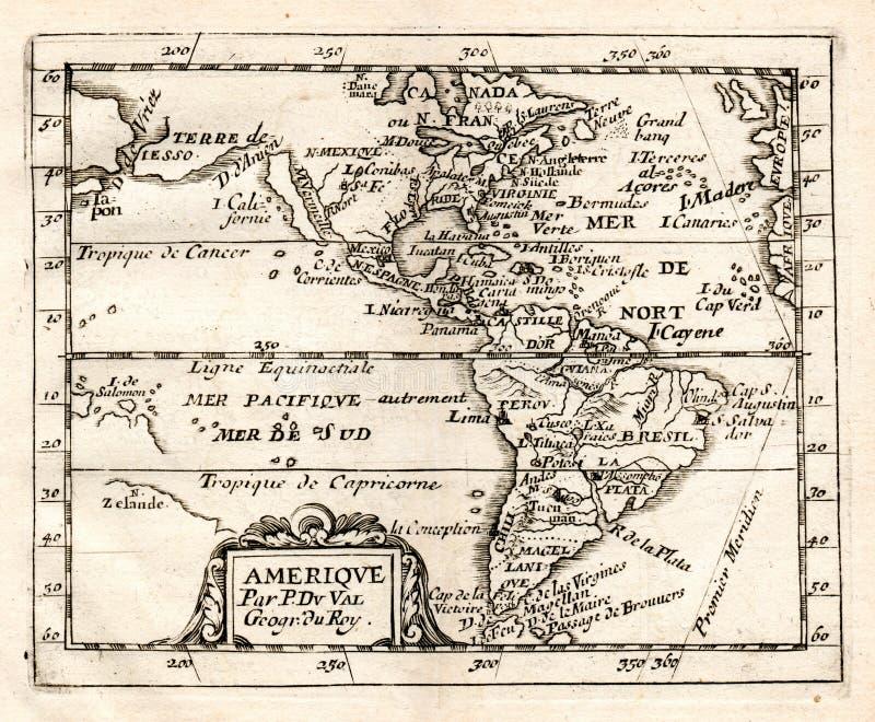 De 1765 Val Map de nord et de l'Amérique du Sud illustration de vecteur
