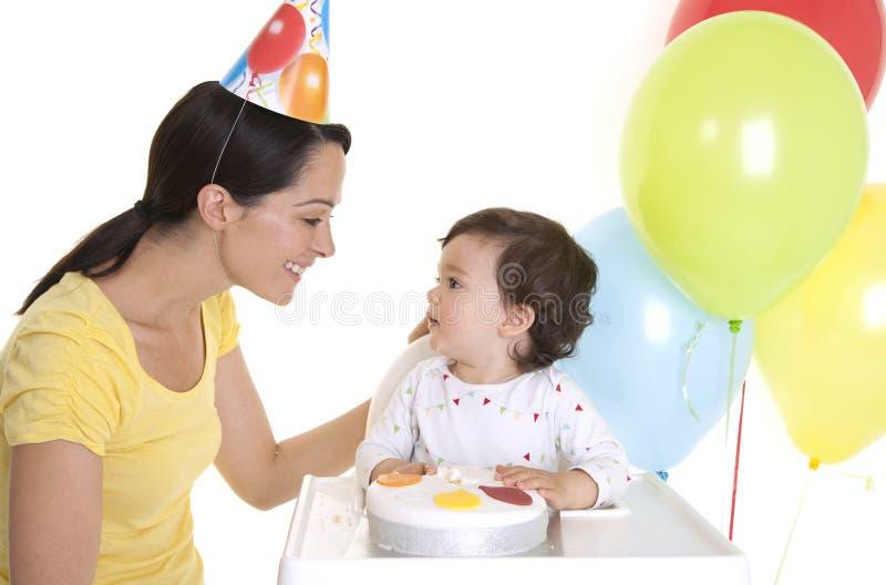 De 1st verjaardag van babys stock afbeeldingen