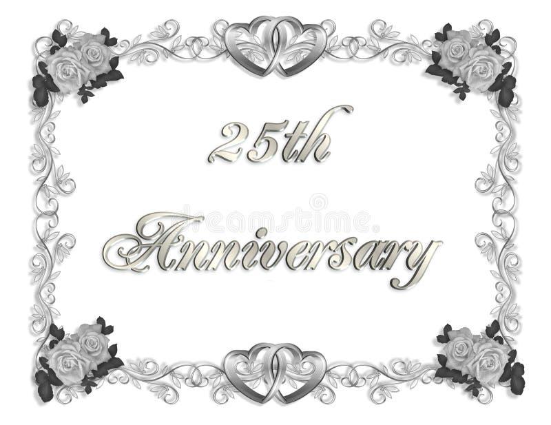 de 25ste 3D Uitnodiging van de Verjaardag vector illustratie