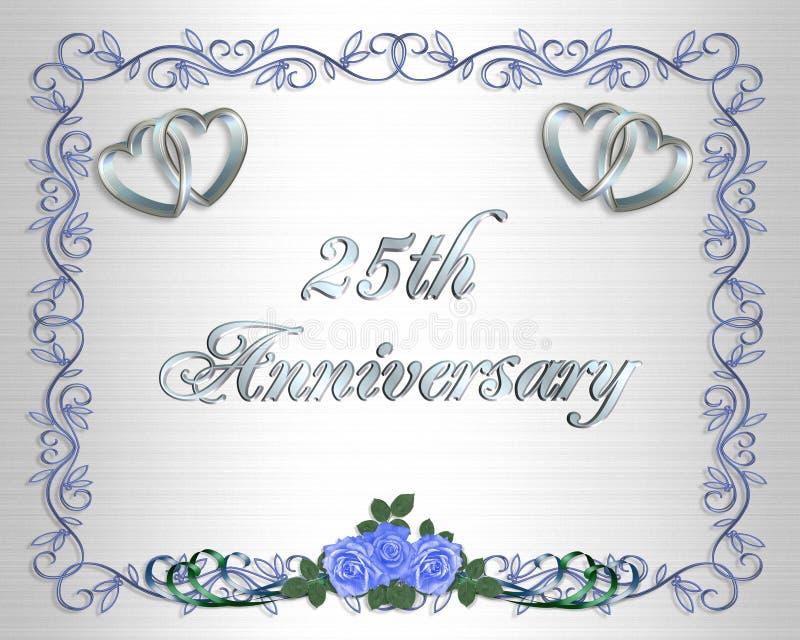 de 25ste Uitnodiging van de Grens van de Verjaardag van het Huwelijk royalty-vrije illustratie