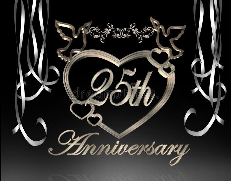 de 25ste Verjaardag van het Huwelijk stock illustratie