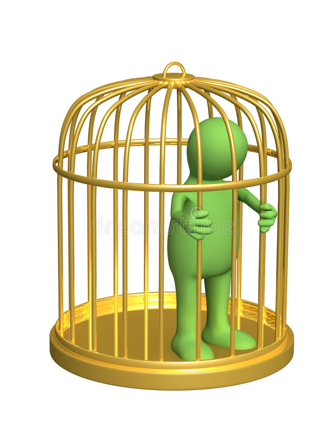 De 3d persoon - marionet, waard in een gouden kooi royalty-vrije illustratie