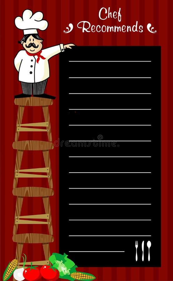 De aanbevelingen van de chef-kok stock illustratie