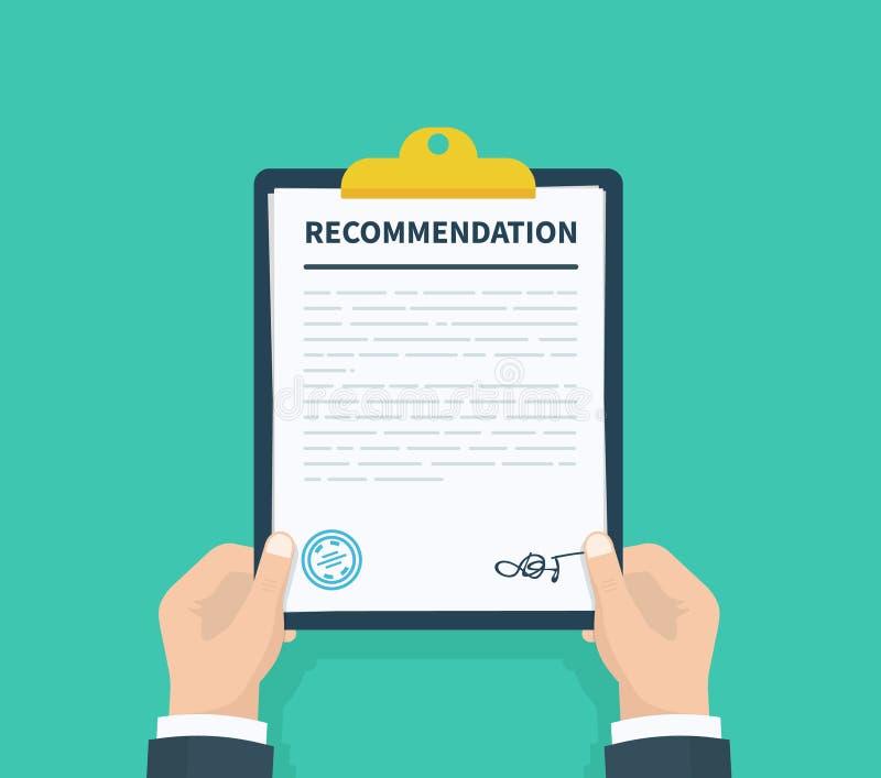 De aanbevelingsklembord van de mensengreep met controlelijstvragenlijst, onderzoek, klembord, het Vlakke ontwerp van de taaklijst stock illustratie