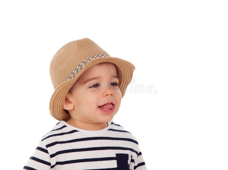 De aanbiddelijke baby negen maanden met de zomer kijkt royalty-vrije stock foto's