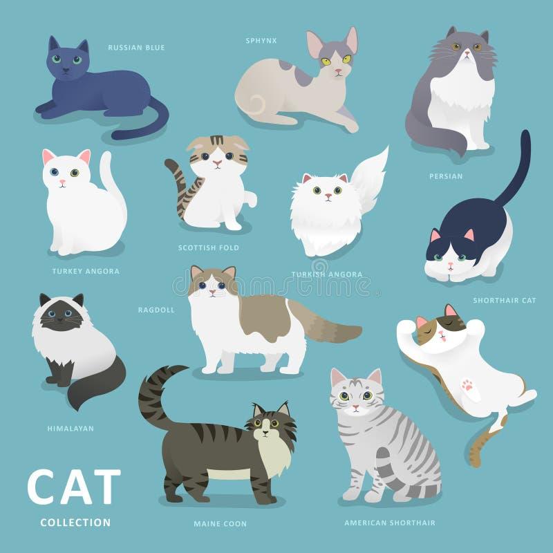De aanbiddelijke inzameling van kattenrassen vector illustratie