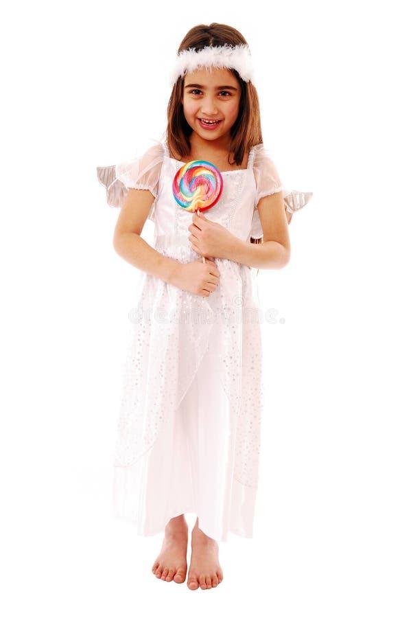 De aanbiddelijke pop lollie van de meisjesholding stock foto's