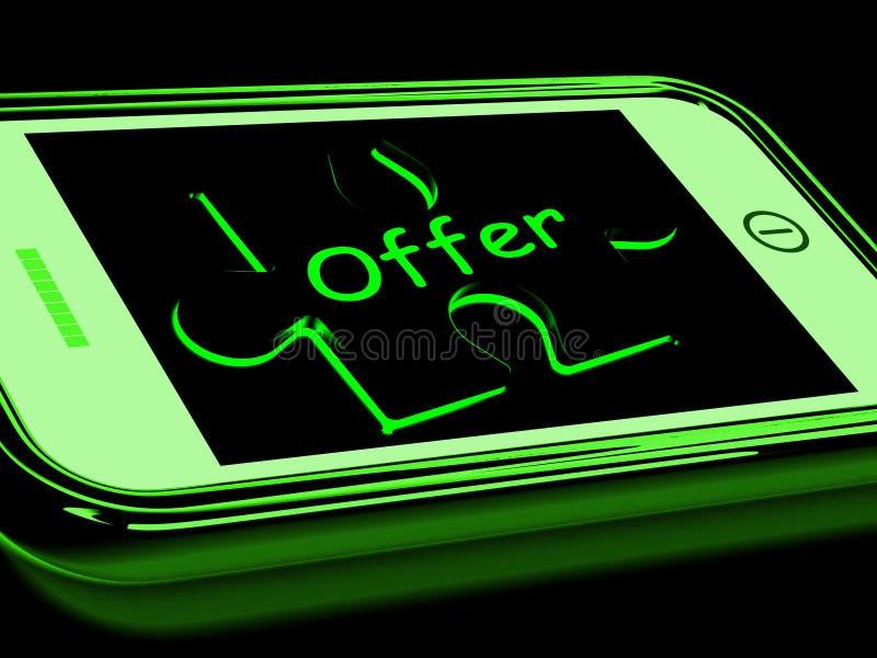 De aanbieding op Smartphone toont Online Speciale Kortingen royalty-vrije illustratie