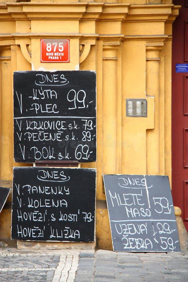 De aanbieding van de winkel in Praag royalty-vrije stock foto