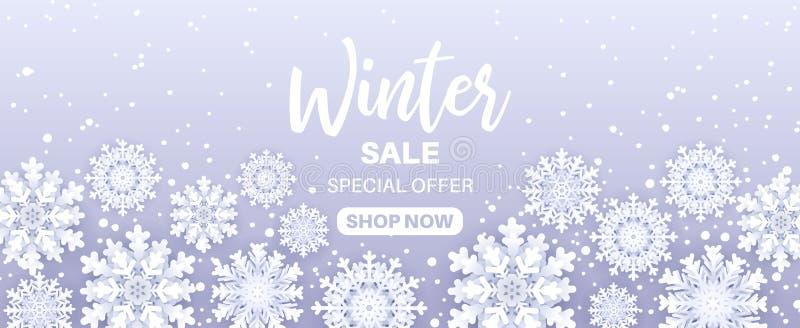 De aanbieding van de de winterverkoop Het sneeuwvalkader met verkooptekst en 3d document snijden sneeuwvlokken op blauwe achtergr royalty-vrije illustratie
