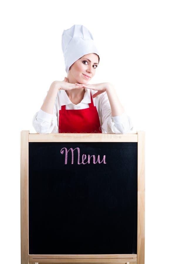 De aanbiedings nieuw menu van de chef-kok stock afbeelding