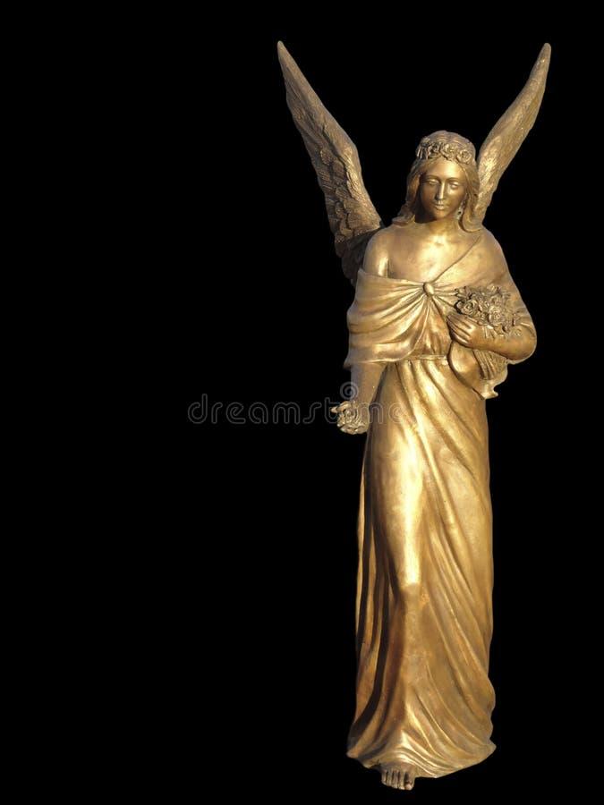 De aanbiedingsbeeldhouwwerk van de engel Geïsoleerd op Zwarte royalty-vrije stock foto's