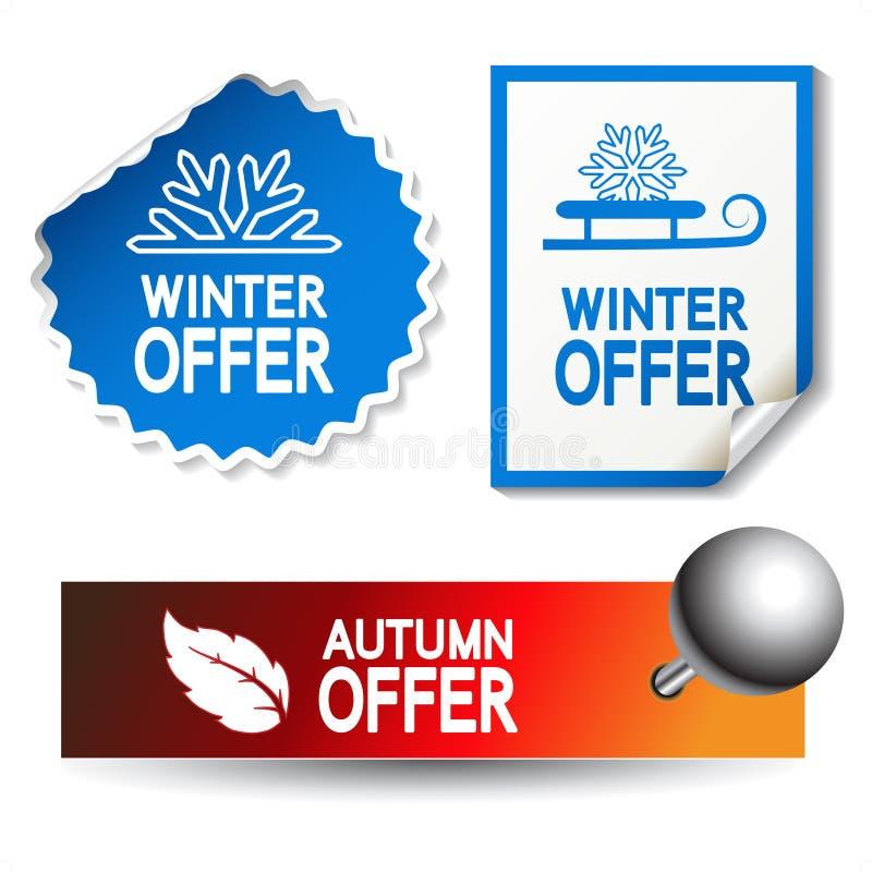 De aanbiedingsstickers van de herfst en van de winter vector illustratie