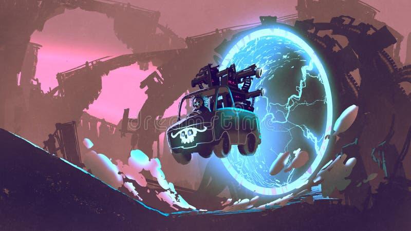 De aandrijving van de kanonvrachtwagen door futuristische tunnel royalty-vrije illustratie