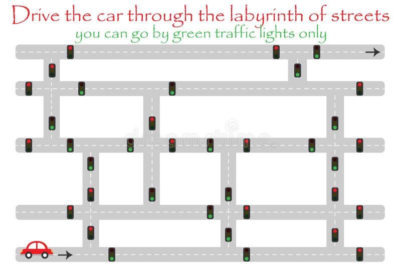De aandrijvingsauto door labyrint van straten, gaat door groene verkeerslichten, het spel van het pretonderwijs voor jonge geitje stock illustratie