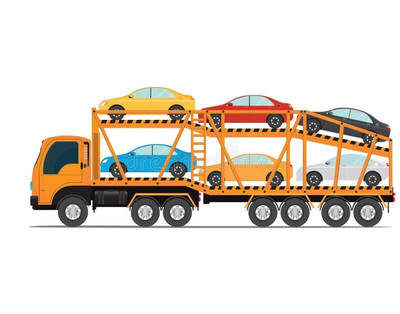 De aanhangwagen vervoerden auto's met nieuwe auto vector illustratie